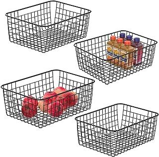 Wire Storage Baskets, iSPECLE 4 Pack Metal Wire Basket Sturdiness Freezer Baskets Storage Organizer Bins with Handles for Kitchen, Pantry, Closet, Laundry Room, Cabinets, Garage, Black