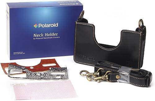 popular Polaroid Custom Designed Vintage-Inspired outlet sale Genuine Leather Cradle online sale for Polaroid Socialmatic - Removable Neck Strap Included - Black online sale