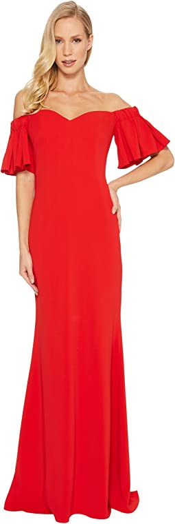 Badgley Mischka Off the Shoulder Ribbon Back