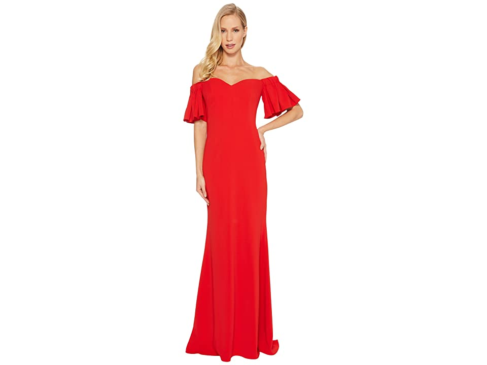Badgley Mischka Off the Shoulder Ribbon Back (Bright Red) Women