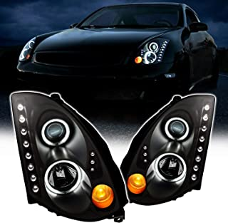 AmeriLite Projector Black Replacement Headlights Dual LED Halo LED Bar for Infiniti G35 2 Door Coupe (HID Compatible) - Passenger and Driver Side