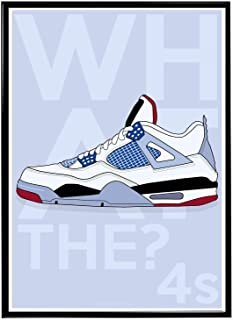 Rob'sTees Custom What The 4s Sneaker Poster, Sneaker Poster, Hype Poster, Kicks Poster, Pop Culture Sneaker Art Wall Decor Streetwear Art (Frame NOT Included) (18x24) (18x24)