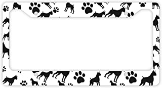 ThisWear Boxer License Plate Frame Dog Silhouette Paw Print License Plate Frame Boxer Gifts Dog Lovers Novelty License Plate Boxer