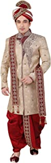 Beige Brocade Silk Indian Wedding Indo-Western Sherwani For Men