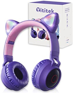 Sponsored Ad - Tititek Purple Cat Headphones Gaming Headset, Cute Cat Ear Headphones for Girl, Wireless Earbuds Over Ear L... photo
