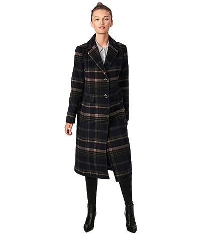 Bernardo Fashions Classic Plaid Wool Coat (Navy Plaid) Women