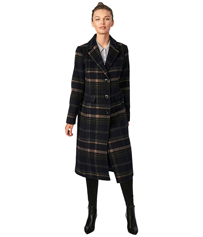 Vintage Coats & Jackets | Retro Coats and Jackets Bernardo Fashions Classic Plaid Wool Coat Navy Plaid Womens Coat $279.99 AT vintagedancer.com