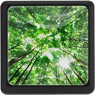 Green Forest Tirador de cajón tirador de cristal forma cuadrada tiradores de gabinete con tornillos para el hogar oficina ...