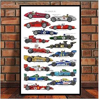 wzgsffs Formula 1 Racing Cars World Champion Drivers Ayrton Senna Poster Wall Art Posters Pintura de la Lona para la decoración del hogar de la habitación -60x80cm Sin Marco