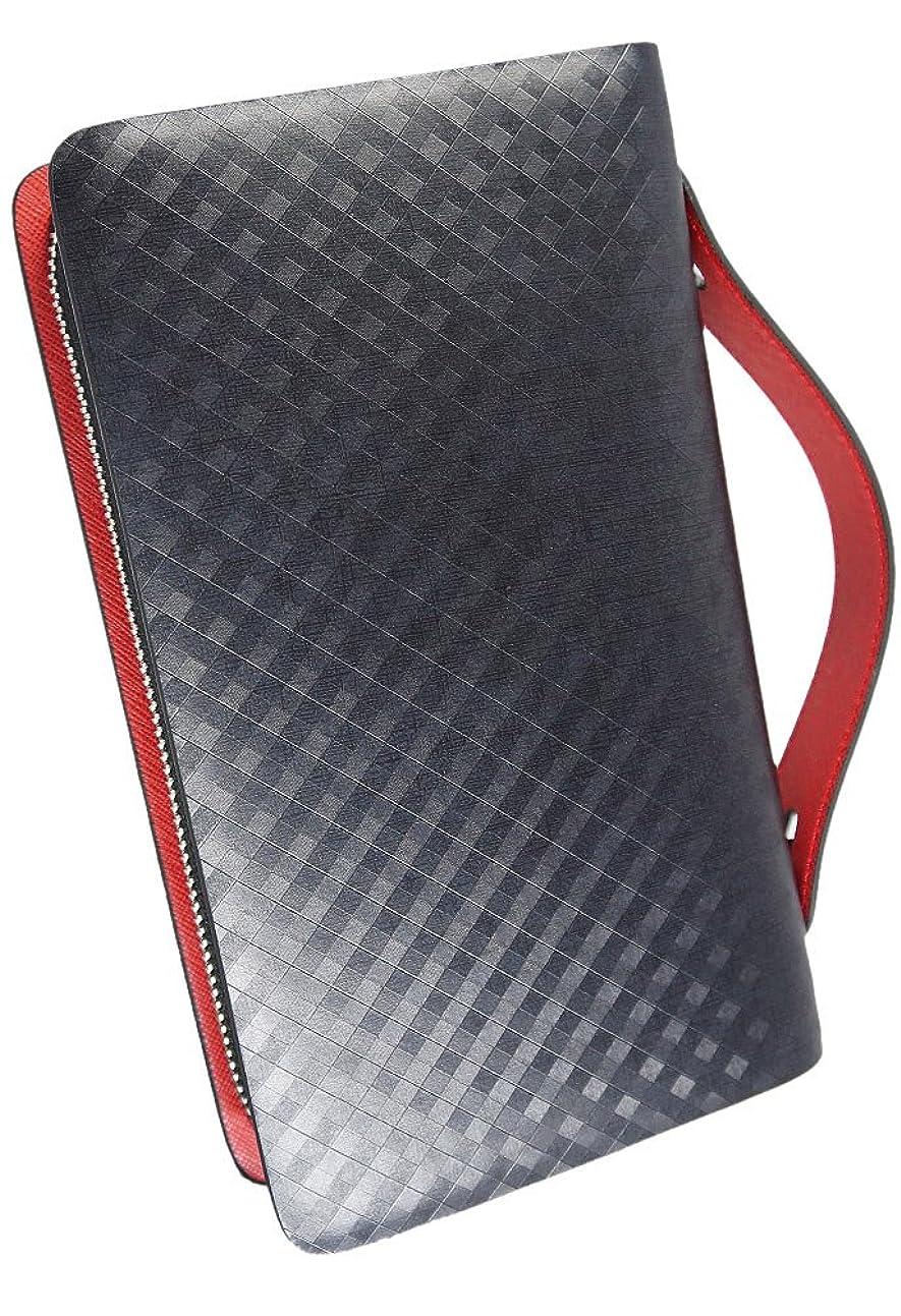 友だち素朴なタッチ極上スペイン製レザー 高級 本革 セカンドバッグ 財布 ダブルファスナー レッド ME0083_c3