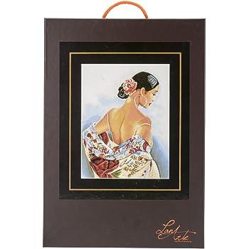 Lanarte Kit para Cuadro de Punto de Cruz dise/ño de Mujer y Flores Multicolor