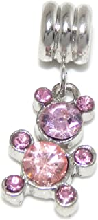 Silver Plated Dangling Teddy Bear w/ Pink Crystals For European Snake Chain Bracelets