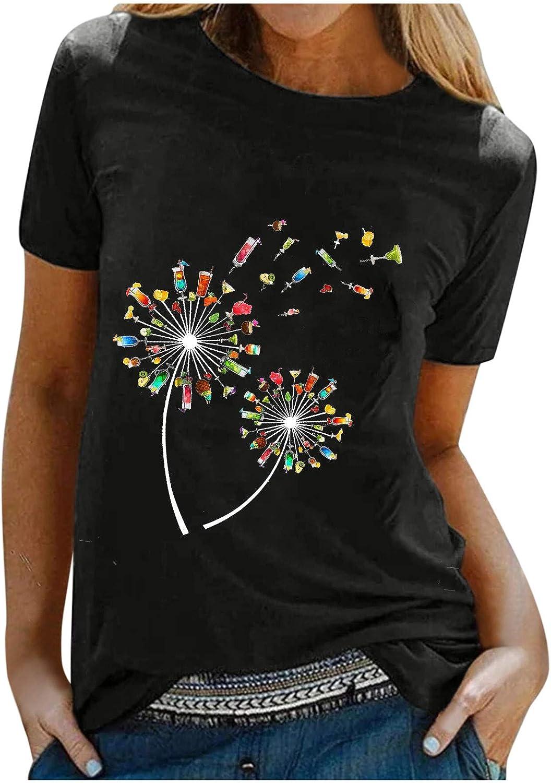 VISLINDU Women Tops Short Sleeve Summer Crewneck T-Shirts Floral Printed Casual Comfy Blouse Pullover Tees Shirts Tunics