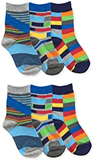 Boys Funky Multi Color Stripes Pattern Fashion Novelty Crew Socks 6 Pair Pack
