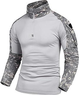 COOFANDY Men Military 1/4 Zip Shirt Tactical Combat Camo Army Long Sleeve Shirt