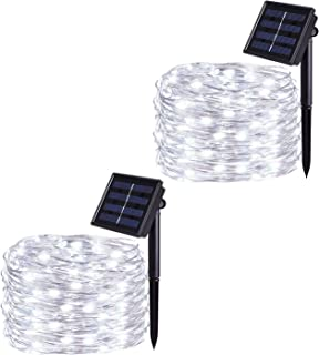 JMEXSUSS Solar Powered String Lights, 200 LED 65.5ft 2 Pack 8 Modes Waterproof Fairy String Copper Wire Lights for Home Garden, Patio, Wedding, Party, Christmas Decoration (White 200LED)