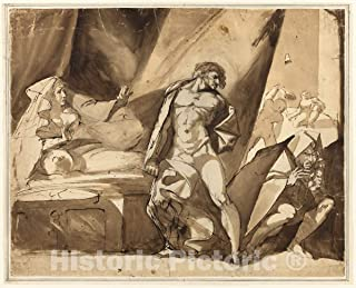 Historic Pictoric Print : The Discovery (Recto), Two Sketches of Standing Male Figures (Verso), Henry Fuseli, c.1643, Vintage Wall Decor : 44in x 35in