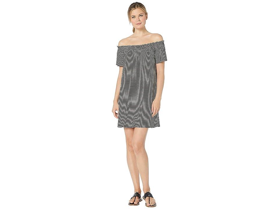 Bobeau Off the Shoulder Knit Dress (Black/White Stripe) Women