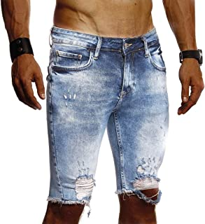 Leif Nelson men's summer short jeans shorts destroyed jeans short trousers jeans chinos cargo trousers 5-pocket destroyed used stretch leisure trousers Bermuda slim fit LN1977
