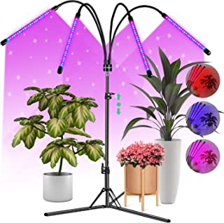 CRAZCALF 120 LED Grow Light for Indoor Plants 100W Four-Head Plant Light with Stand 9 Levels Brightness LED Grow Lights Fu...