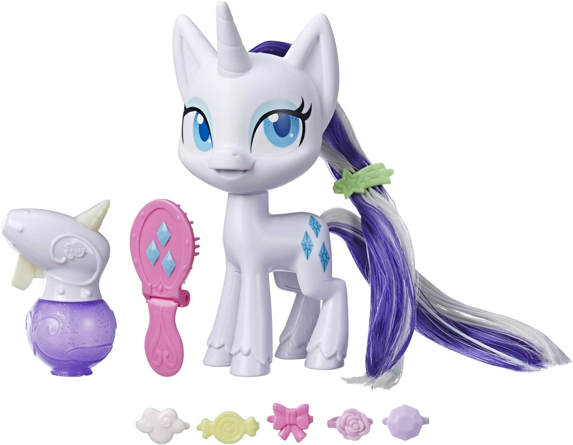 "My Little Pony Magical Mane Rarity Toy -- 6.5"" Hair-Styling Pony Figure with Hair That Grows & Changes Color, 10 Surprise Accessories"