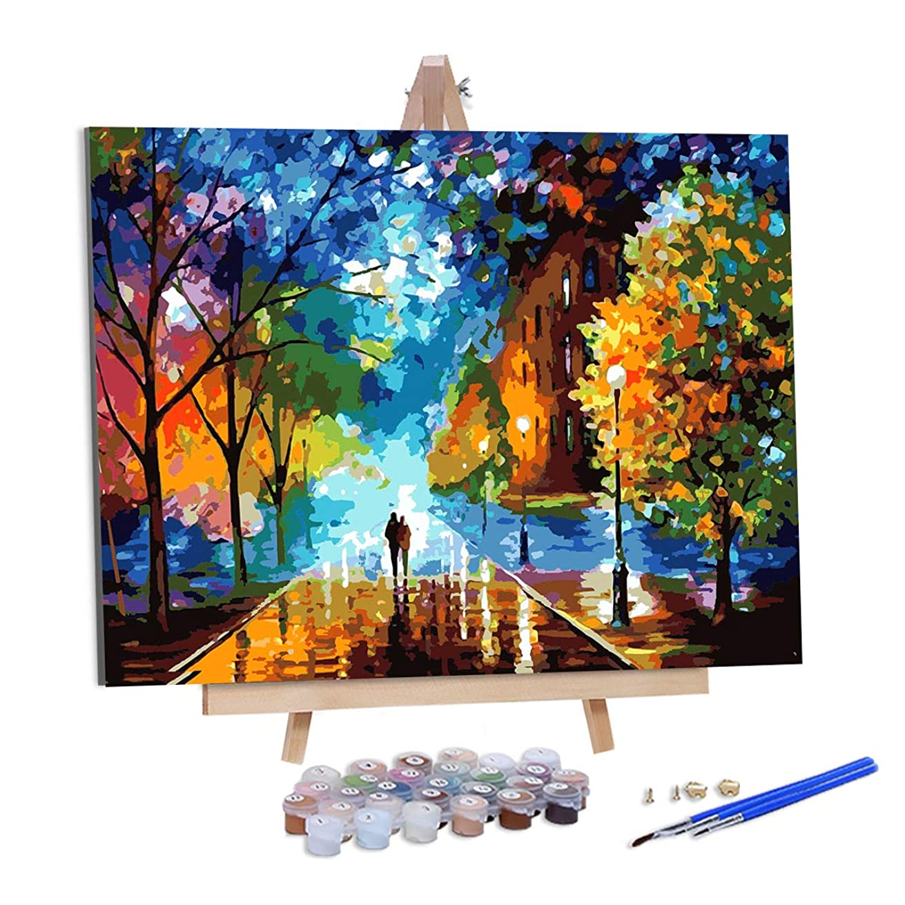 """AOLIGE DIY Plaid Oil Paint by Numbers for Adults Acrylic Canvas Framed and Easel 16"""" x 20"""" (Forest)"""