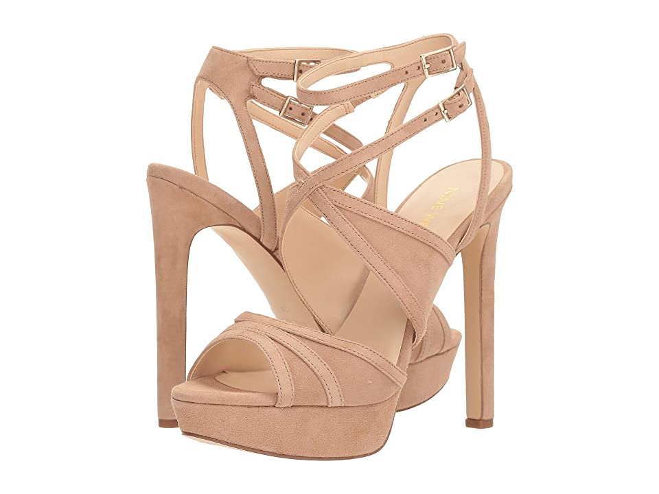 Nine West Valeska Platform Heel Sandal (Barely Nude Isa Kid Suede) High Heels