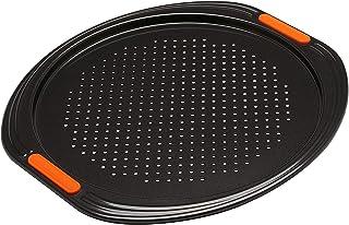 Le Creuset 941027130 Bandeja Antiadherente para Pizza, Ø 33 cm, Base Perforada, Libre de PFOA, Resistente a ácidos, Revestimiento de Acero al Carbono, Gris/Naranja
