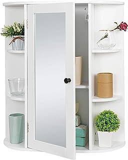 SUPER DEAL Bathroom Cabinet with Single Mirror Door Wall Mount Medicine Cabinet with 2 Tier Inner Adjustable Shelves Woode...