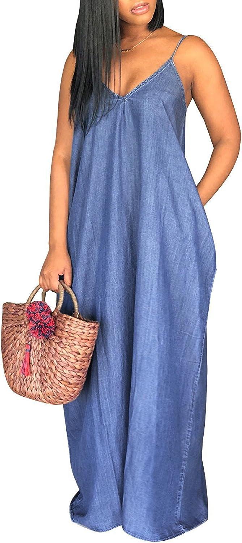 Ofenbuy Womens Plus Size Maxi Dress Summer Casual Spaghetti Strap Deep V Neck Loose Denim Dresses