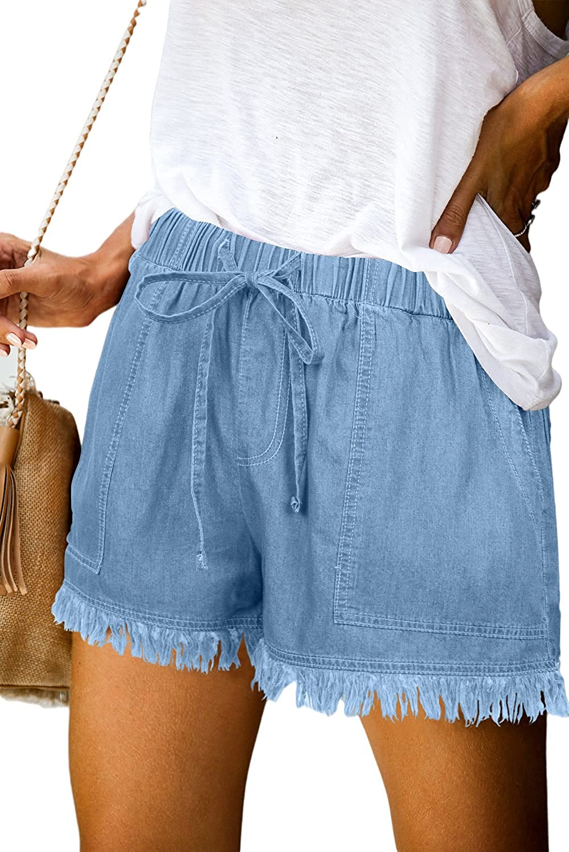 KISSMODA Womens Summer Shorts Leopard/Camo/Solid/Floral Print Elastic Waist Pocketed Casual Pants
