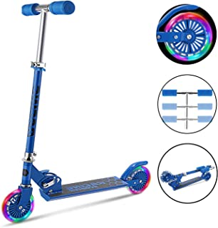 Scooter for Kid, Mini Kick Scooter Aluminum Folding Scooters Adjustable Height with Light Up Wheels for Girls Boys Toddler, Max Load 110lbs (US Stock)