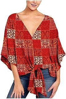 Oldlover-Women Short Sleeve V Neck Floral & Leopard Tie Front Plus Size Blouses Batwing Sleeve Summer Tops Shirts