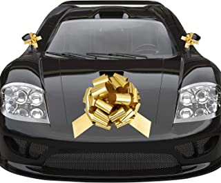 Whaline Golden Big Car Pull Bow with 2 Small Gift Bows for Wedding Car, Christmas Large Gift Decoration, Prom, Surprise Party, Boxing Day, New Houses Decor (16'')