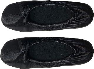 isotoner Women's Black Satin Ballerina Slipper