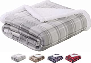Sedona House Premium Reversible Flannel Sherpa Soft Micro Plush Cozy Throw Size 50x60 Inches Lightweight Plaid Fuzzy Fleece Blanket (Grey)