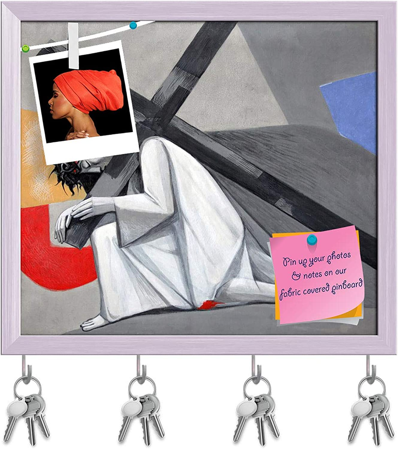 Artzfolio 3Rd Station of Cross Jesus Falls The First Time Key Holder Hooks   Notice Pin Board   White Frame 18 X 16Inch