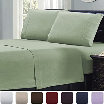 Mellanni 100% Cotton 4 Piece Flannel Sheets Set - Deep Pocket - Warm - Super Soft - Breathable Bedding (Queen, Sage)