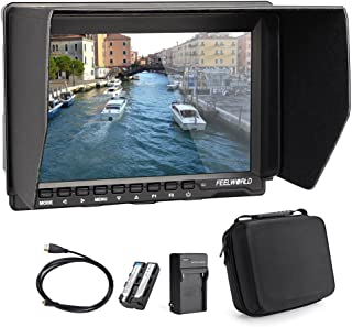 Feelworld FW759 7 Inch On-Camera Field Video Monitor with 2200mAh Battery Pack and Carrying Case - 1280x800 Resolution, Wi...