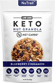 NuTrail™ - Keto Blueberry Nut Granola Healthy Breakfast Cereal - Low Carb Snacks & Food - 3g Net Carbs - Almonds, Pecans, ...