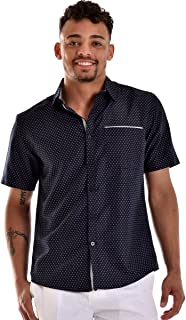 Men Print One Pocket Short Sleeve Shirt in (2) Colors (MCS779)