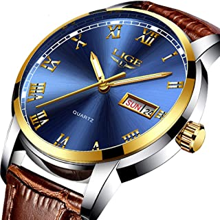 Men's Quartz Watches Classic Casual Brown Leather Strap Wrist Watch Date Display