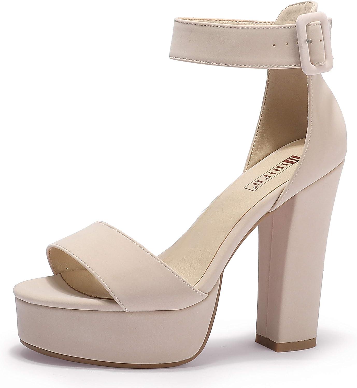 IDIFU Women's IN5 Sabrina Ankle High [Alternative dealer] Chunky Alternative dealer Platform Heels Strap