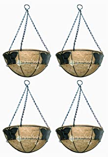GARDEN KING 10 INCH Butterfly Design Coir Hanging Basket with Chain (Set of 4 Pcs) Coir Pots for Home Garden