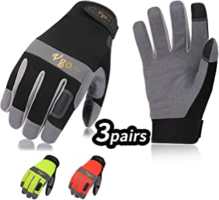 Vgo 3Pairs Synthetic Leather Work Gloves (Size M, 3Colors,SL7584)