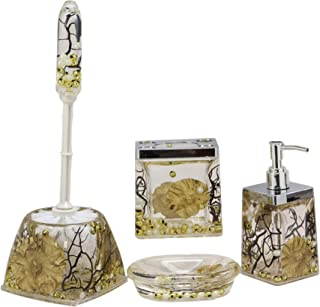 Ebros Nautical Coastal Pearls Shells Liquid 3D Floating Motion Bathroom Gift Set 5 Pc Accessories Toothbrush Toothpaste Holder Soap Dish Toilet Brush & Base and Hand Sanitizer Dispenser (Fancy Gold)