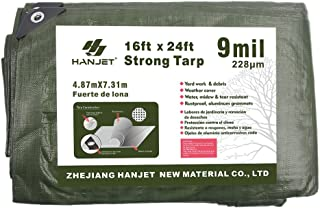 Hanjet Heavy Duty Tarp 16' x 24' 9-mil Waterproof Poly Reinforced Tarp Cover Tent Shelter Camping Tarpaulin with Grommets ...