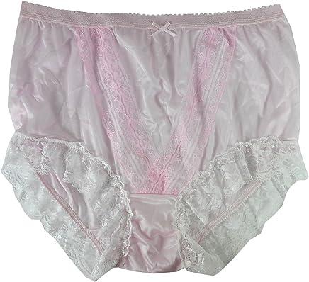 3056a3ecfc NLH01D02 Pink Handmade Granny Plain Waist Panties Briefs Sheer Nylon  Underwear for Women   Men Plus