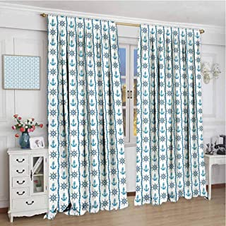 Home Decoration Thermal Insulated Curtains W72 x L72 Inch,Rod Pocket Curtain Panels for Bedroom & Kitchen,Under the Sea,Ship on a Ocean Must Items Rope like Stripe Anchor Helm,Sky Blue Navy Blue and T
