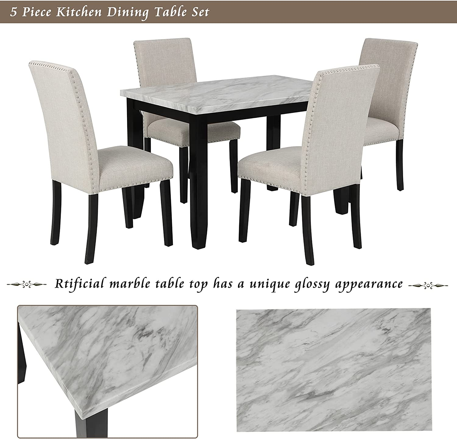 P PURLOVE 9 Piece Dining Table Set Faux Marble Style Dining Room Table and  9 Chairs Marble Stickers MDF Top Table and 9 Thicken Cushion Dining Chairs  ...